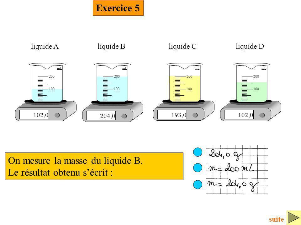 Exercice 5 On mesure la masse du liquide B. Le résultat obtenu sécrit : 102,0 100 200 mL liquide A 204,0 100 200 mL liquide B 193,0 100 200 mL liquide