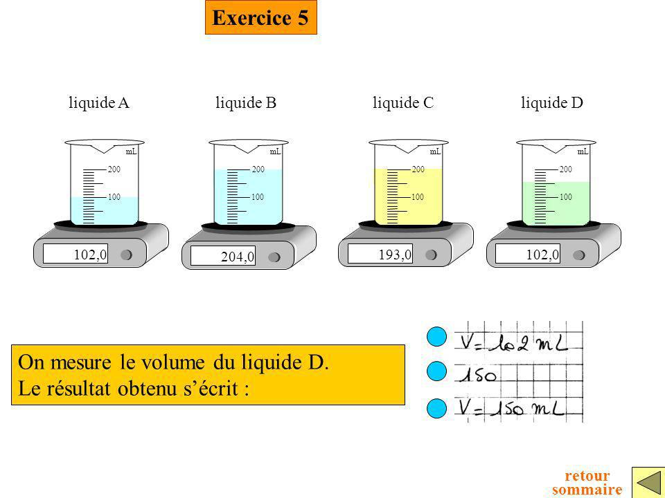 Exercice 5 On mesure le volume du liquide D. Le résultat obtenu sécrit : 102,0 100 200 mL liquide A 204,0 100 200 mL liquide B 193,0 100 200 mL liquid