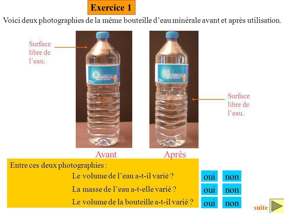 Exercice 1 ouinon Voici deux photographies de la même bouteille deau minérale avant et après utilisation. Le volume de leau a-t-il varié ? La masse de
