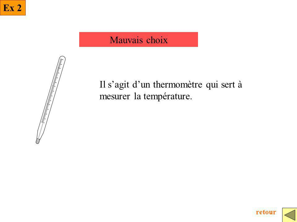 Mauvais choix Il sagit dun thermomètre qui sert à mesurer la température. Ex 2 retour