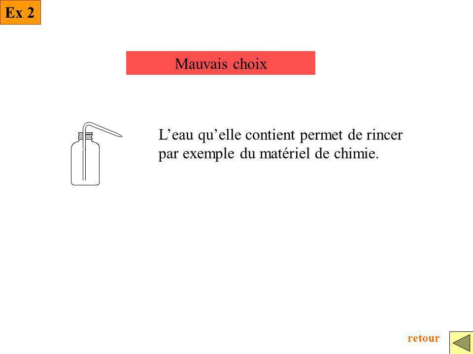 Mauvais choix Leau quelle contient permet de rincer par exemple du matériel de chimie. Ex 2 retour
