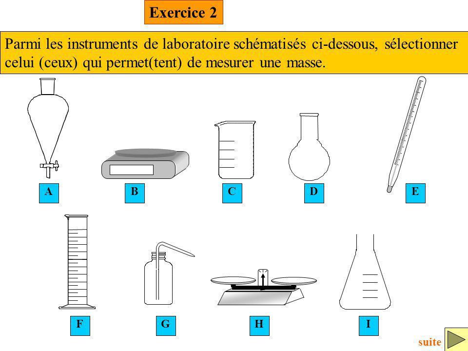 C FI ABDE HG Exercice 2 Parmi les instruments de laboratoire schématisés ci-dessous, sélectionner celui (ceux) qui permet(tent) de mesurer une masse.