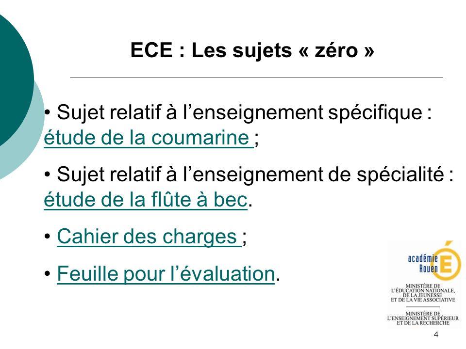 4 ECE : Les sujets « zéro » Sujet relatif à lenseignement spécifique : étude de la coumarine ; étude de la coumarine Sujet relatif à lenseignement de