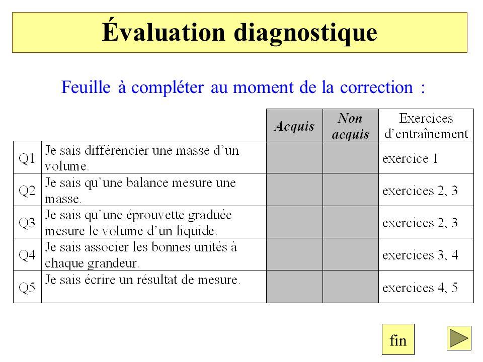 Feuille à compléter au moment de la correction : Évaluation diagnostique fin