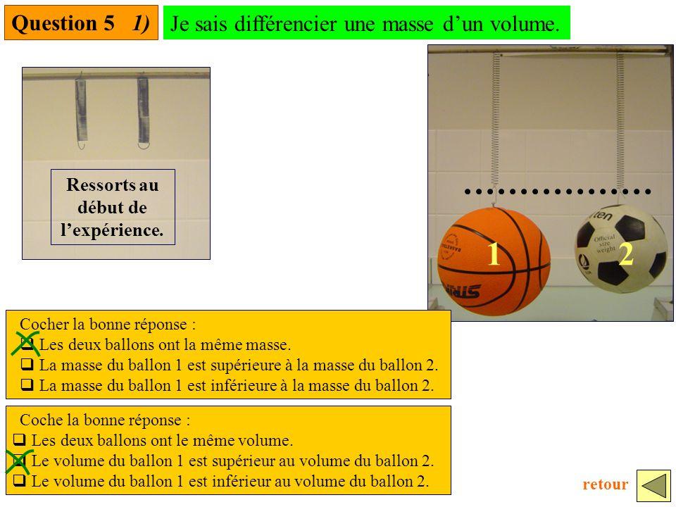 12 Question 5 1) Cocher la bonne réponse : Les deux ballons ont la même masse.