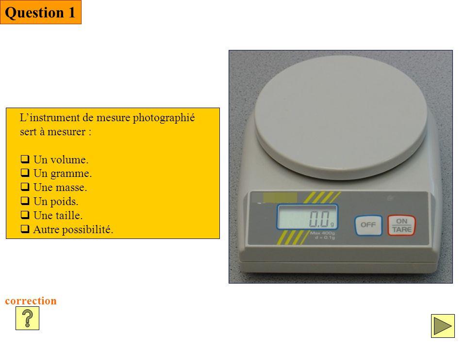 Question 1 correction Linstrument de mesure photographié sert à mesurer : Un volume.