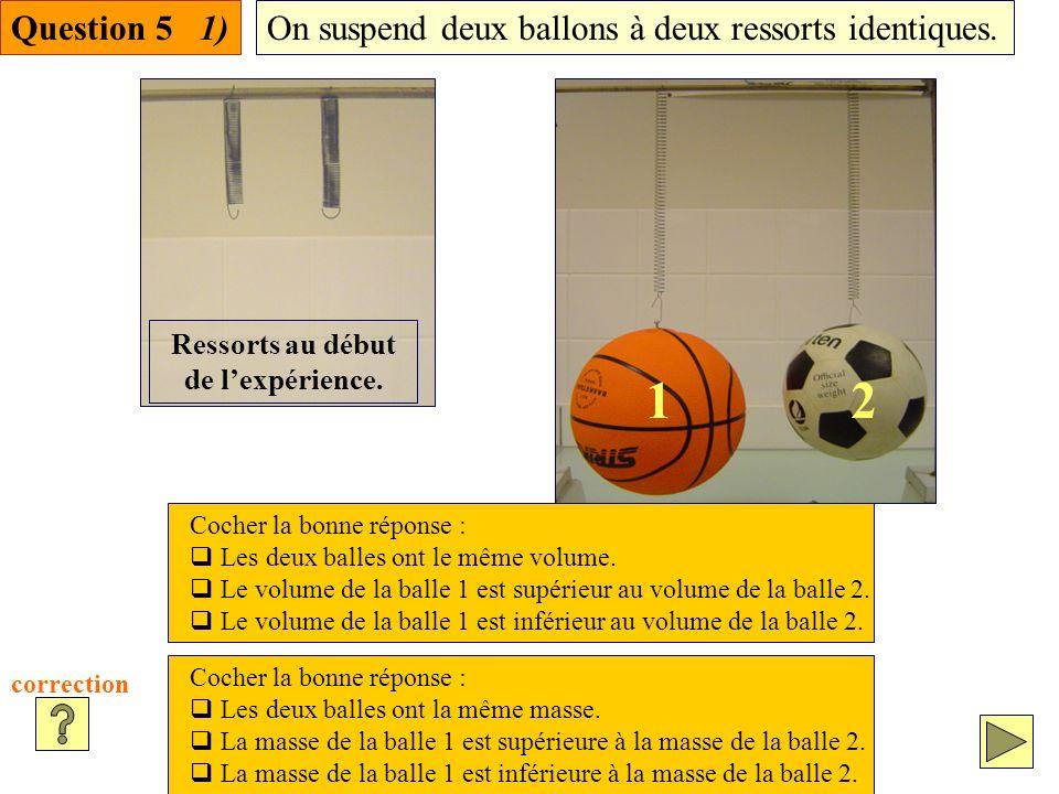 Question 5 1)On suspend deux ballons à deux ressorts identiques.