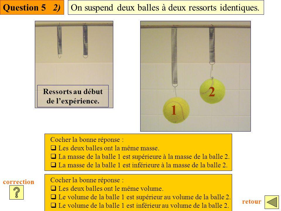 Question 5 2)On suspend deux balles à deux ressorts identiques.
