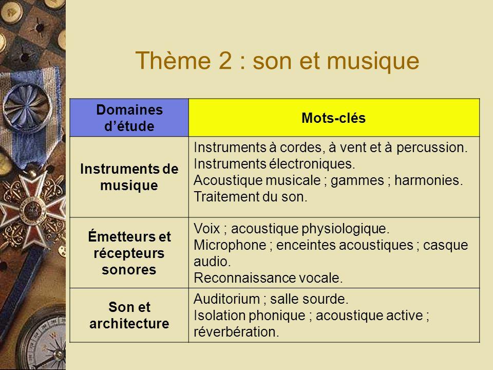 Thème 2 : son et musique Domaines détude Mots-clés Instruments de musique Instruments à cordes, à vent et à percussion.