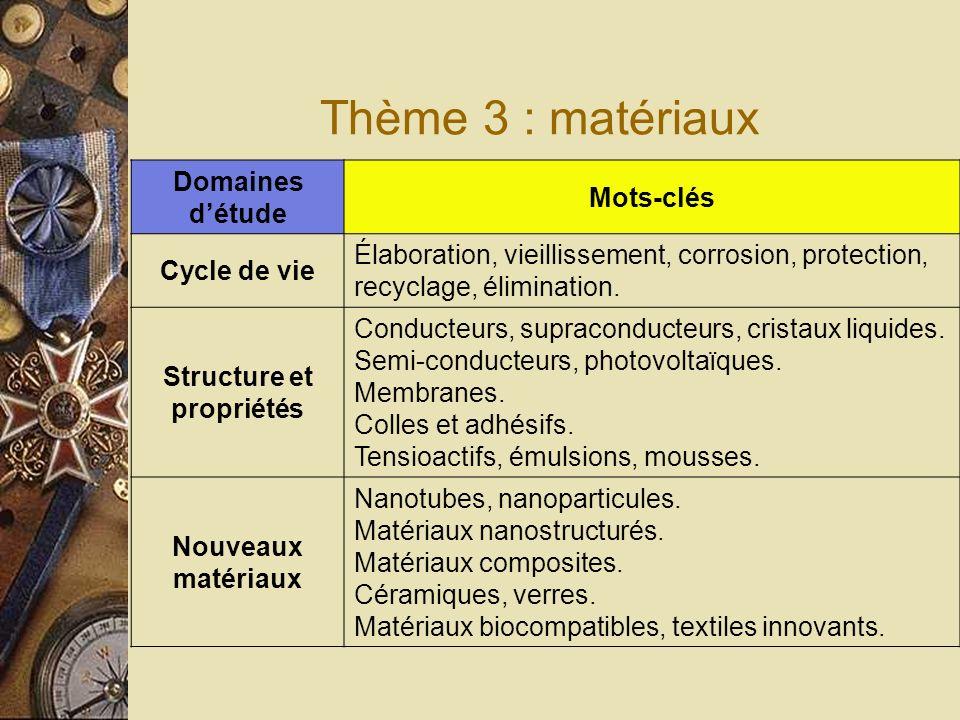 Thème 3 : matériaux Domaines détude Mots-clés Cycle de vie Élaboration, vieillissement, corrosion, protection, recyclage, élimination.