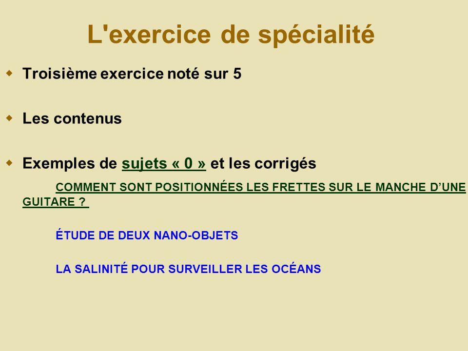 L exercice de spécialité Troisième exercice noté sur 5 Les contenus Exemples de sujets « 0 » et les corrigéssujets « 0 » COMMENT SONT POSITIONNÉES LES FRETTES SUR LE MANCHE DUNE GUITARE .