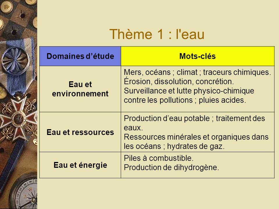 Thème 1 : l eau Domaines détudeMots-clés Eau et environnement Mers, océans ; climat ; traceurs chimiques.