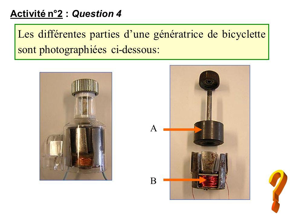 Activité n°2 : Question 4 A B Les différentes parties dune génératrice de bicyclette sont photographiées ci-dessous: