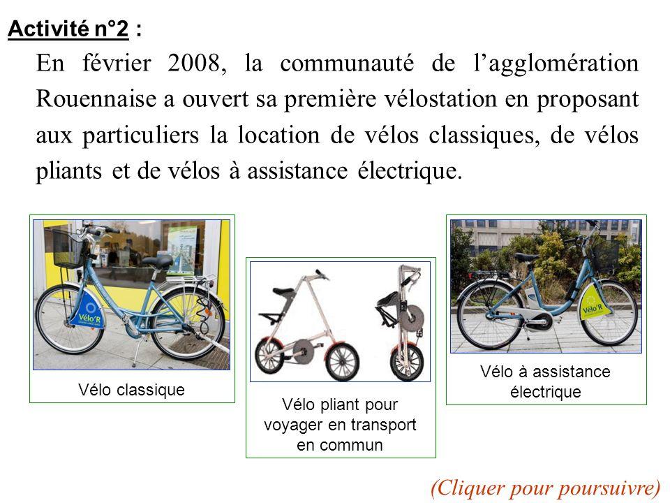 Activité n°2 : En février 2008, la communauté de lagglomération Rouennaise a ouvert sa première vélostation en proposant aux particuliers la location