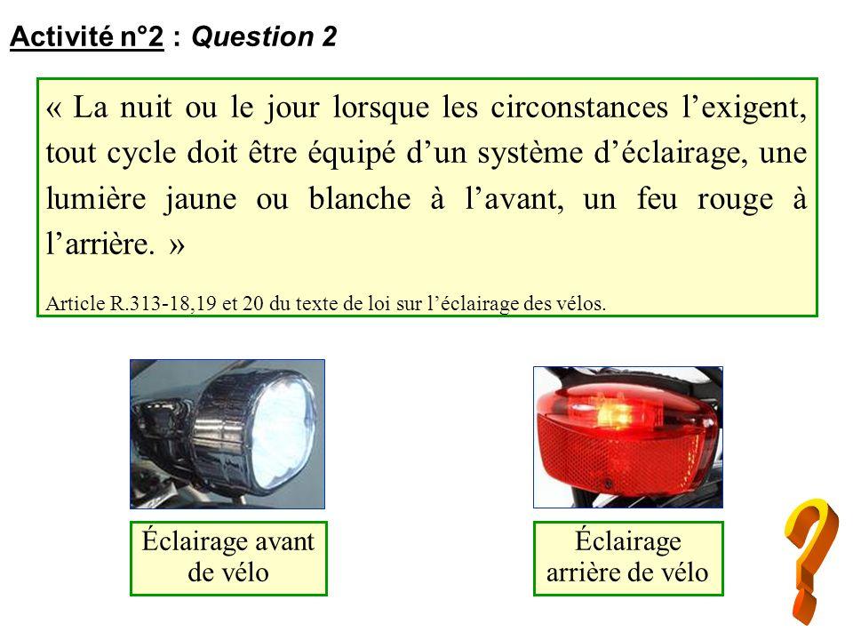« La nuit ou le jour lorsque les circonstances lexigent, tout cycle doit être équipé dun système déclairage, une lumière jaune ou blanche à lavant, un