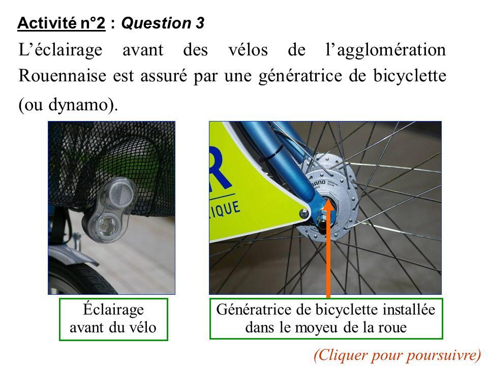 Activité n°2 : Question 3 Léclairage avant des vélos de lagglomération Rouennaise est assuré par une génératrice de bicyclette (ou dynamo). Éclairage
