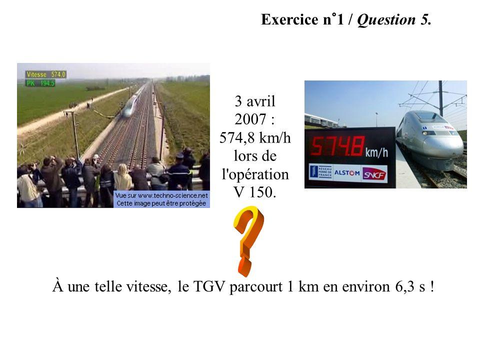 Exercice n°1 / Question 5. 3 avril 2007 : 574,8 km/h lors de l'opération V 150. À une telle vitesse, le TGV parcourt 1 km en environ 6,3 s !