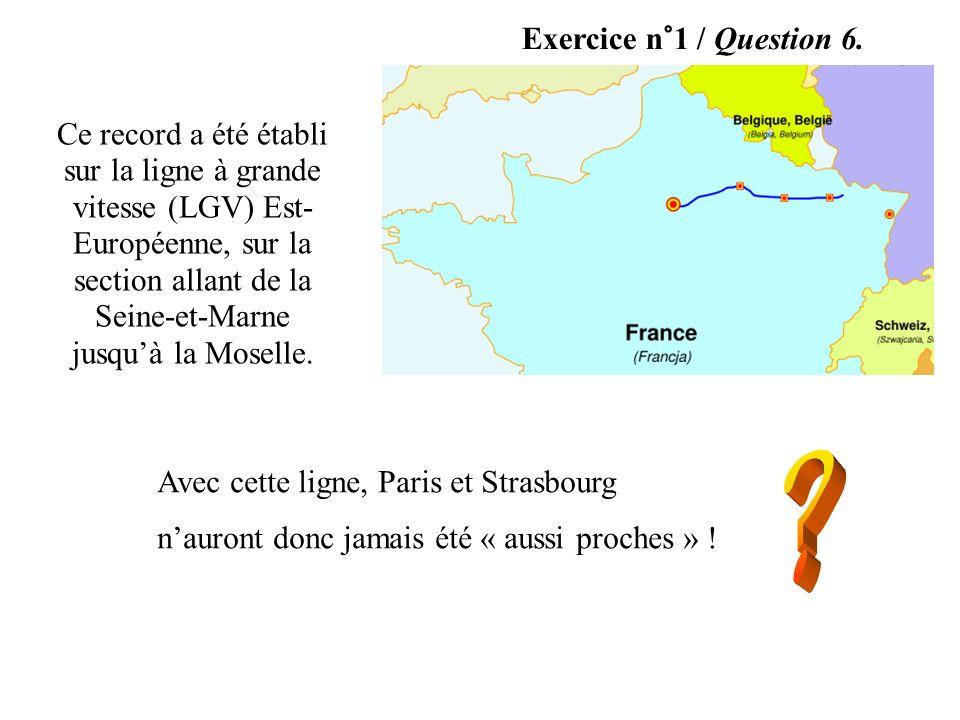 Exercice n°1 / Question 6. Ce record a été établi sur la ligne à grande vitesse (LGV) Est- Européenne, sur la section allant de la Seine-et-Marne jusq