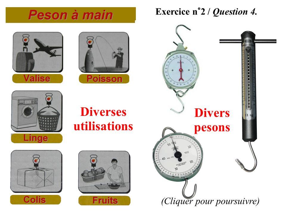 Exercice n°2 / Question 4. Diverses utilisations Divers pesons (Cliquer pour poursuivre)