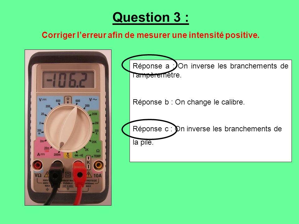 Réponse a : On inverse les branchements de lampèremètre. Réponse b : On change le calibre. Réponse c : On inverse les branchements de la pile. Questio