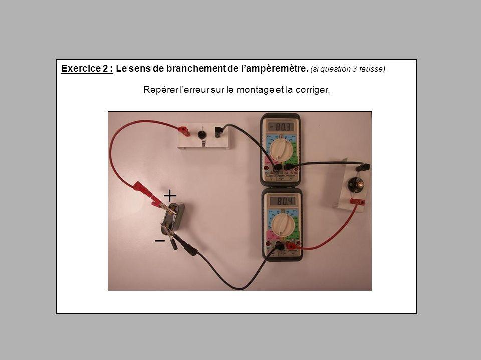 Exercice 2 : Le sens de branchement de lampèremètre. (si question 3 fausse) Repérer lerreur sur le montage et la corriger.