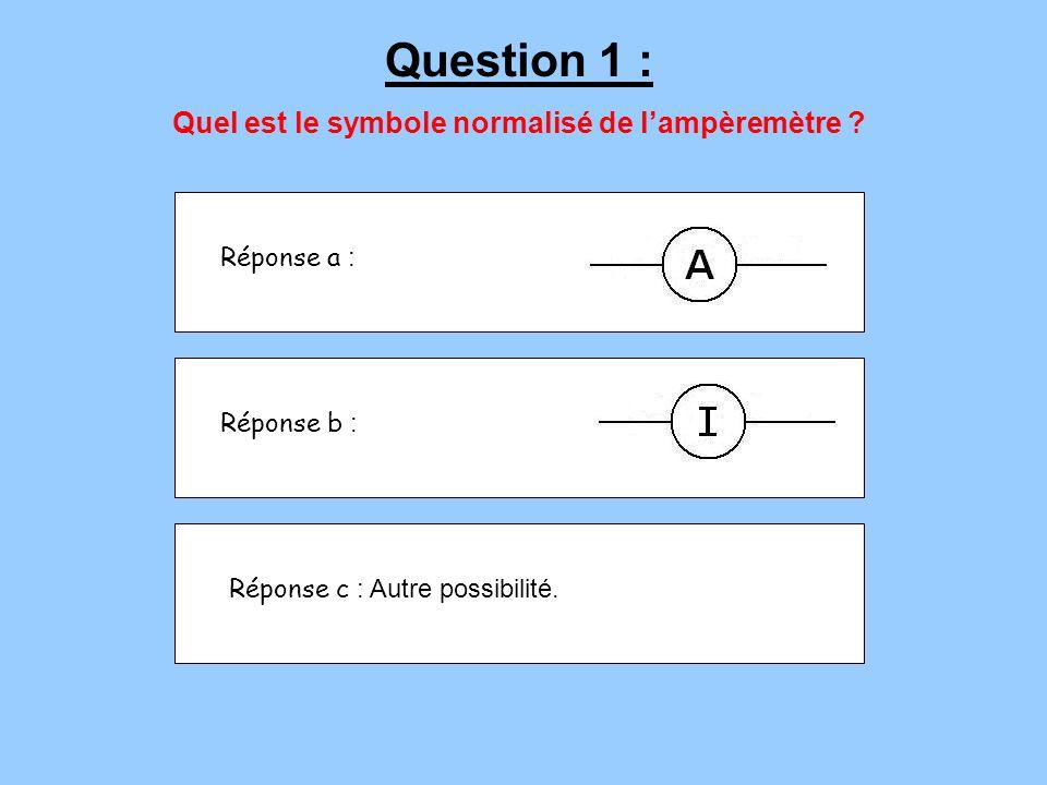 Réponse a : Réponse b : Réponse c : Autre possibilité. Question 1 : Quel est le symbole normalisé de lampèremètre ?