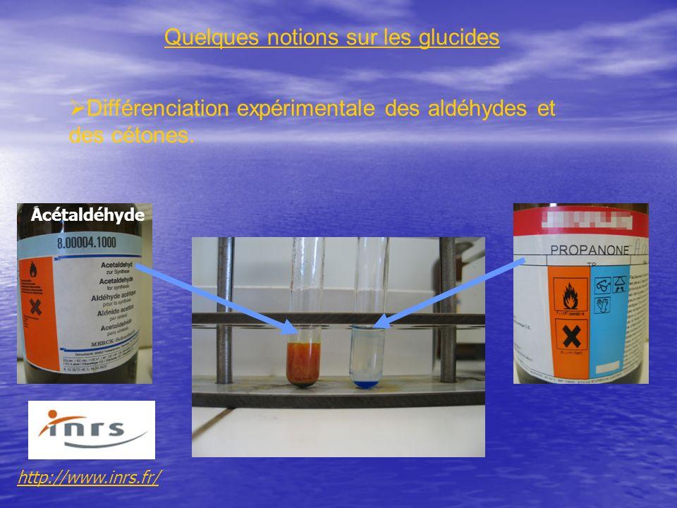 Différenciation expérimentale des aldéhydes et des cétones. Quelques notions sur les glucides http://www.inrs.fr/ Acétaldéhyde