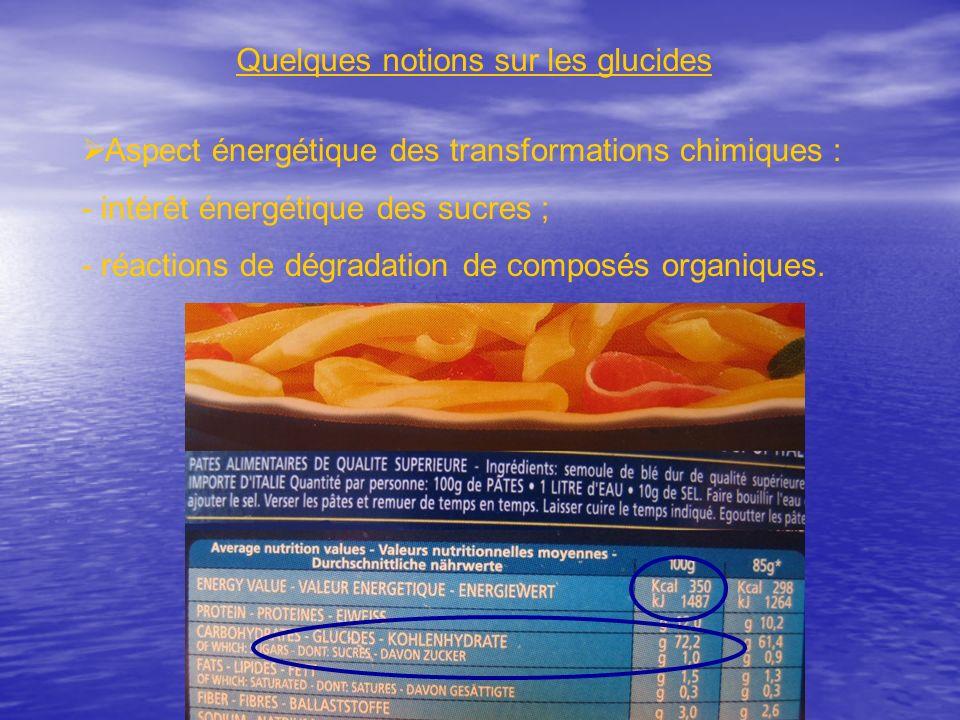 Quelques notions sur les glucides Aspect énergétique des transformations chimiques : - intérêt énergétique des sucres ; - réactions de dégradation de