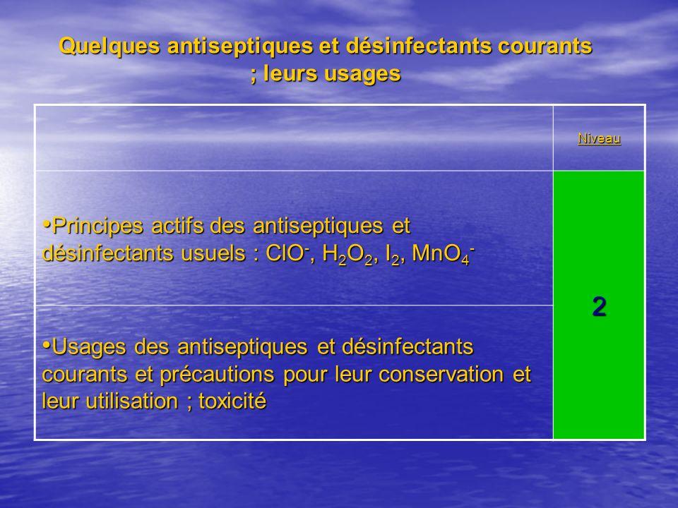 Quelques antiseptiques et désinfectants courants ; leurs usages Niveau Principes actifs des antiseptiques et désinfectants usuels : ClO -, H 2 O 2, I