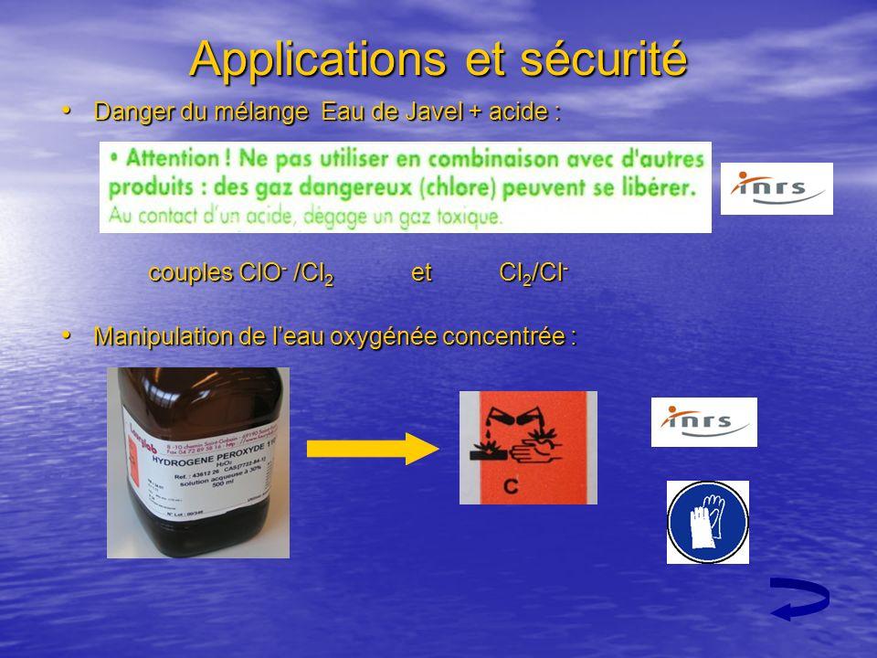 Applications et sécurité Danger du mélange Eau de Javel + acide : Danger du mélange Eau de Javel + acide : couples ClO - /Cl 2 et Cl 2 /Cl - Manipulat