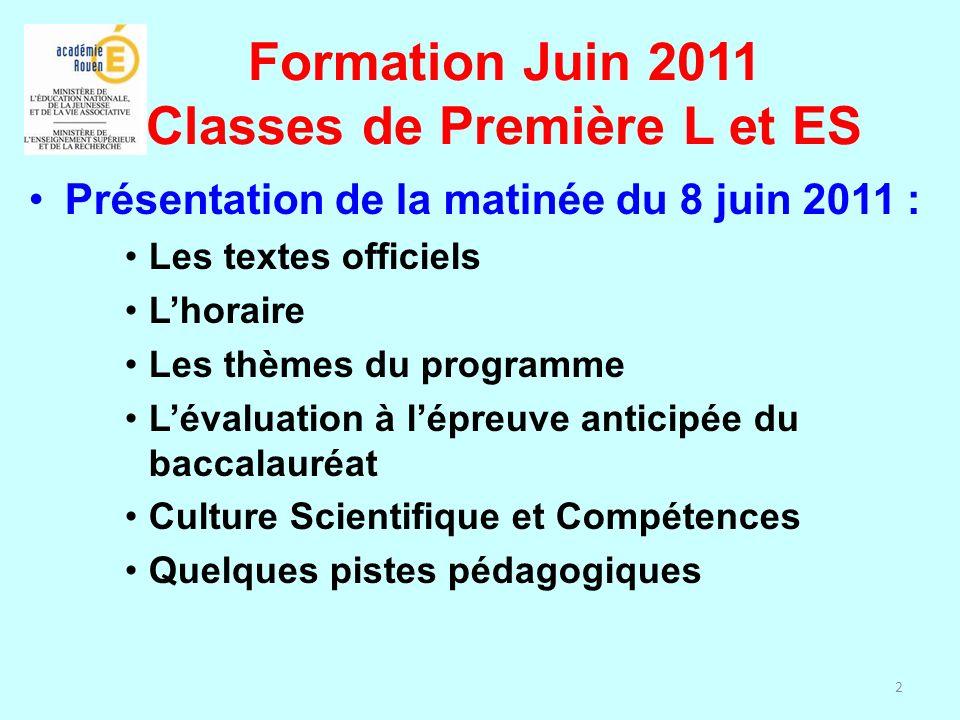 2 Présentation de la matinée du 8 juin 2011 : Les textes officiels Lhoraire Les thèmes du programme Lévaluation à lépreuve anticipée du baccalauréat C