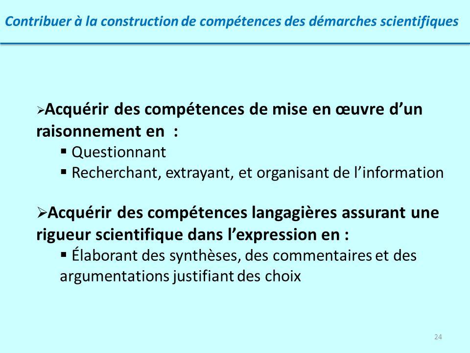 24 Contribuer à la construction de compétences des démarches scientifiques Acquérir des compétences de mise en œuvre dun raisonnement en : Questionnan