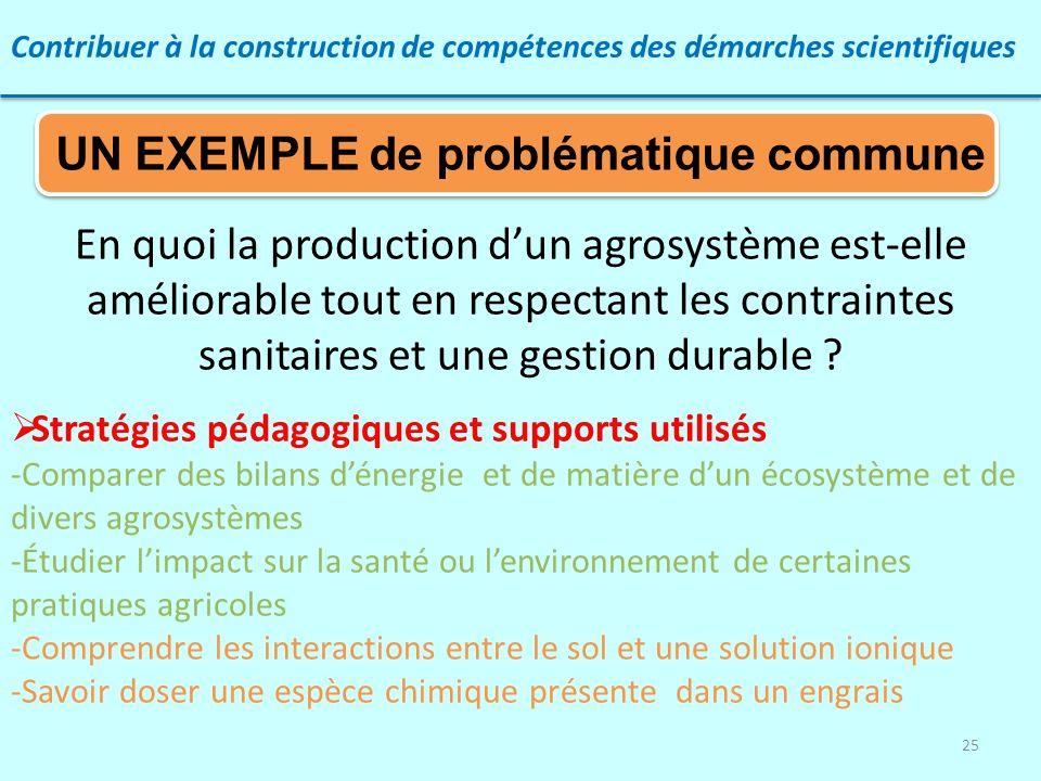 25 Contribuer à la construction de compétences des démarches scientifiques En quoi la production dun agrosystème est-elle améliorable tout en respecta