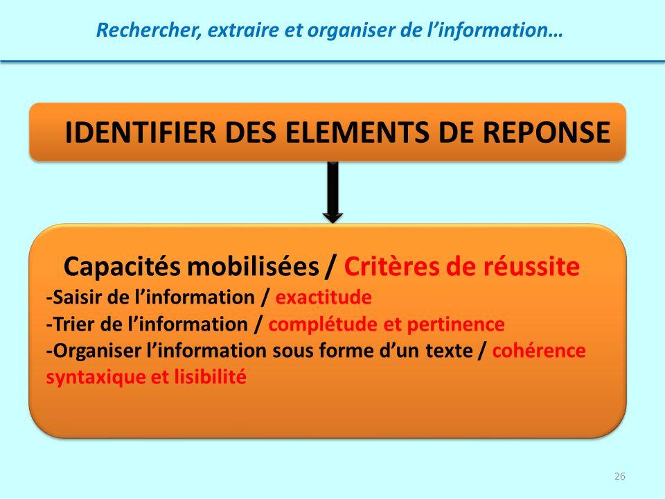 26 Rechercher, extraire et organiser de linformation… IDENTIFIER DES ELEMENTS DE REPONSE Capacités mobilisées / Critères de réussite -Saisir de linfor