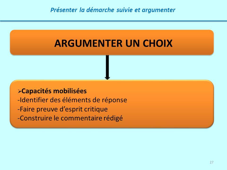 27 Présenter la démarche suivie et argumenter ARGUMENTER UN CHOIX Capacités mobilisées -Identifier des éléments de réponse -Faire preuve desprit criti