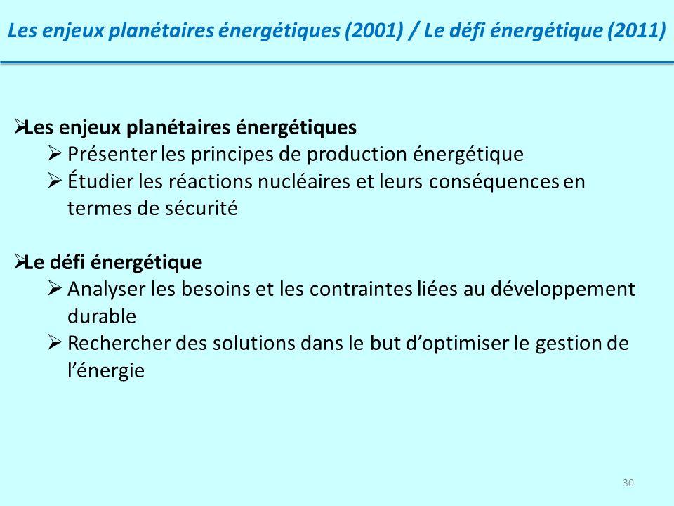 30 Les enjeux planétaires énergétiques (2001) / Le défi énergétique (2011) Les enjeux planétaires énergétiques Présenter les principes de production é