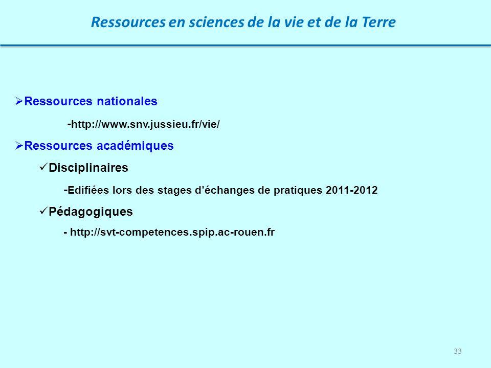 33 Ressources en sciences de la vie et de la Terre Ressources nationales - http://www.snv.jussieu.fr/vie/ Ressources académiques Disciplinaires - Edif