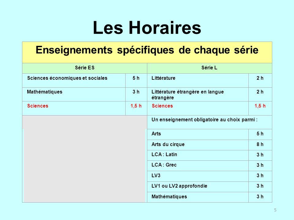 5 Les Horaires Enseignements spécifiques de chaque série Série ESSérie L Sciences économiques et sociales5 hLittérature 2 h Mathématiques3 hLittératur