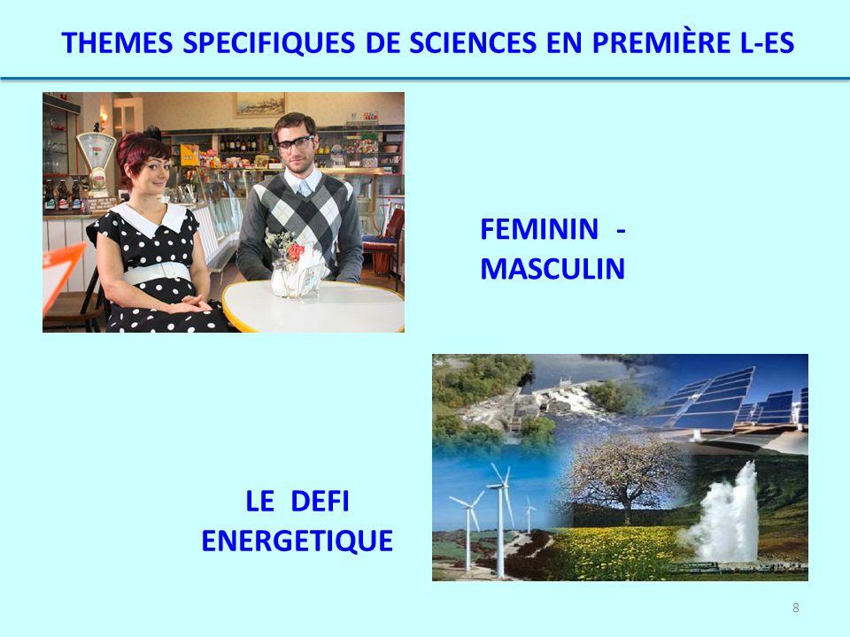 8 THEMES SPECIFIQUES DE SCIENCES EN PREMIÈRE L-ES FEMININ - MASCULIN LE DEFI ENERGETIQUE