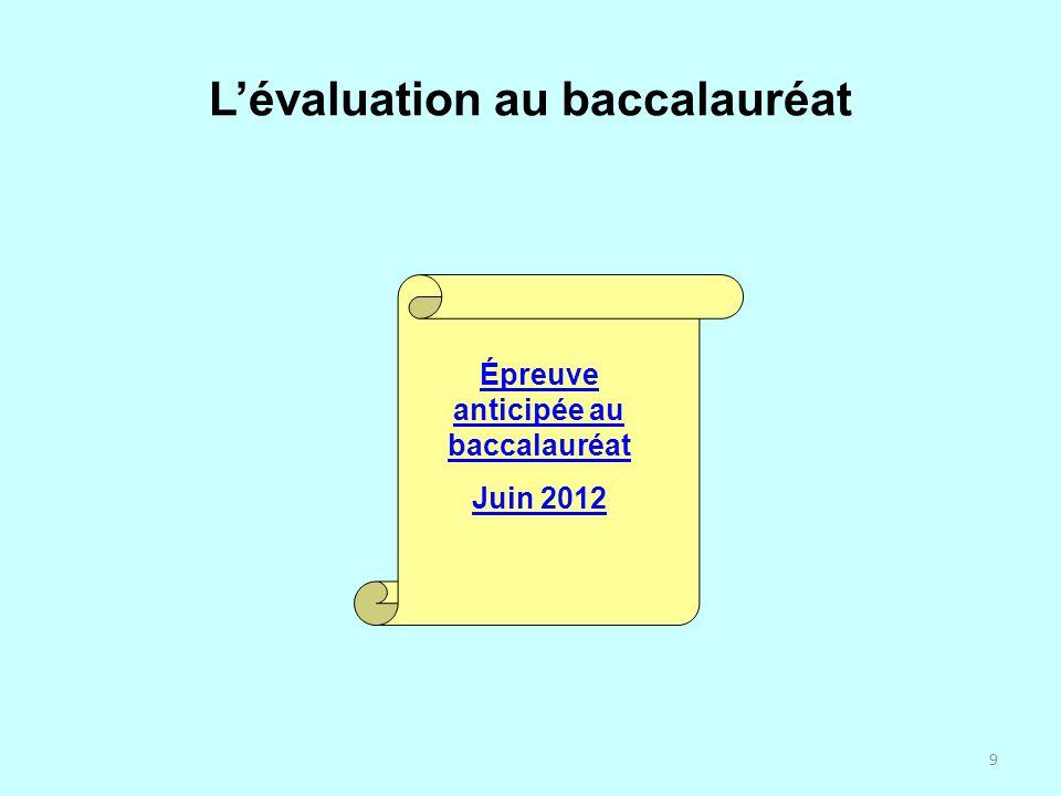 9 Lévaluation au baccalauréat Épreuve anticipée au baccalauréat Juin 2012