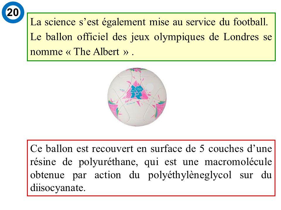 Ce ballon est recouvert en surface de 5 couches dune résine de polyuréthane, qui est une macromolécule obtenue par action du polyéthylèneglycol sur du diisocyanate.