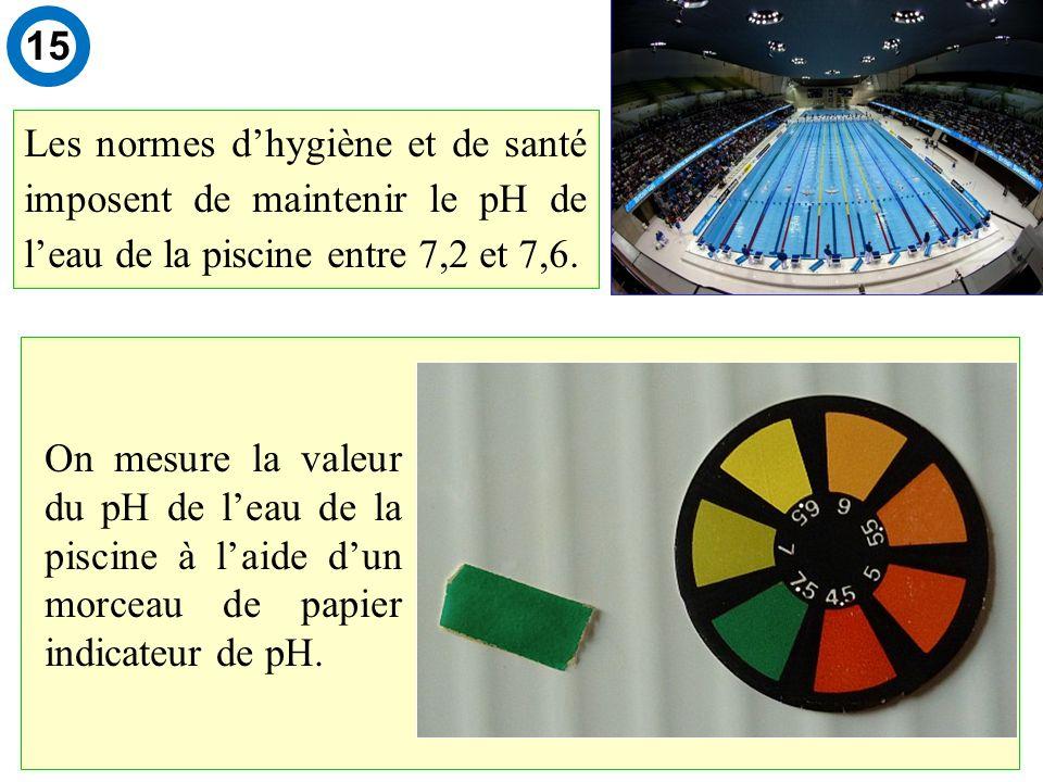 Les normes dhygiène et de santé imposent de maintenir le pH de leau de la piscine entre 7,2 et 7,6.