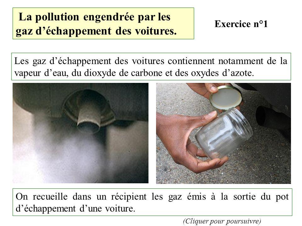 La pollution engendrée par les gaz déchappement des voitures.