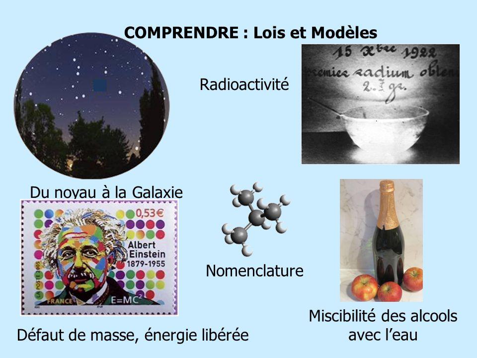 COMPRENDRE : Lois et Modèles Du noyau à la Galaxie Radioactivité Défaut de masse, énergie libérée Nomenclature Miscibilité des alcools avec leau