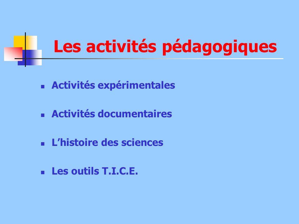 Les activités pédagogiques Activités expérimentales Activités documentaires Lhistoire des sciences Les outils T.I.C.E.