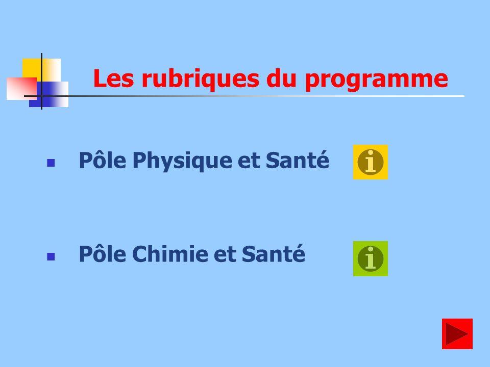 Les rubriques du programme Pôle Physique et Santé Pôle Chimie et Santé