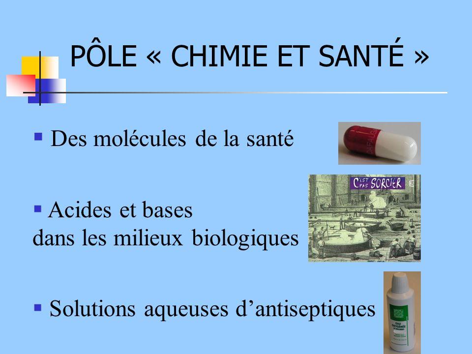 PÔLE « CHIMIE ET SANTÉ » Des molécules de la santé Acides et bases dans les milieux biologiques Solutions aqueuses dantiseptiques