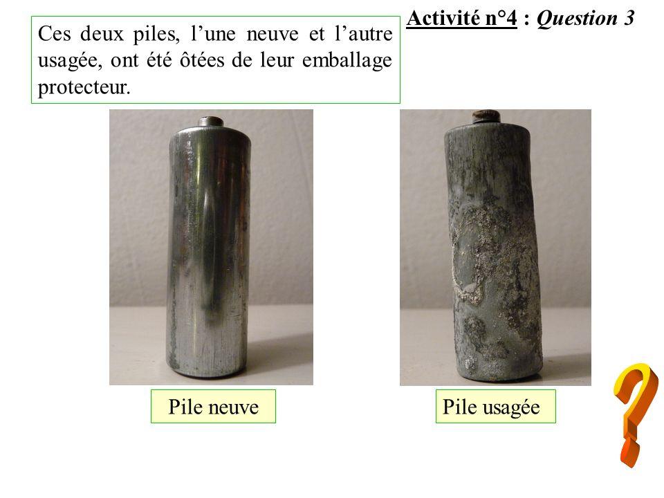 Activité n°4 : Question 3 Pile usagée Pile neuve Ces deux piles, lune neuve et lautre usagée, ont été ôtées de leur emballage protecteur.