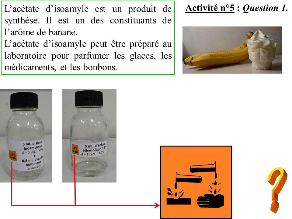 Activité n°5 : Question 1. Lacétate disoamyle est un produit de synthèse. Il est un des constituants de larôme de banane. Lacétate disoamyle peut être
