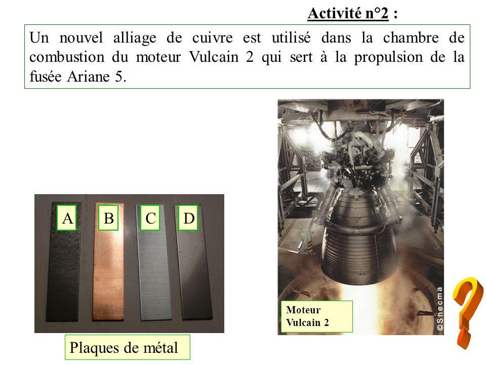 Activité n°2 : Un nouvel alliage de cuivre est utilisé dans la chambre de combustion du moteur Vulcain 2 qui sert à la propulsion de la fusée Ariane 5